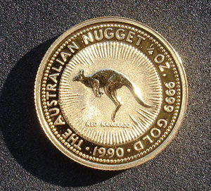 Australian gold nugget bullion coin - reverse side