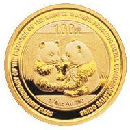 Chinese gold panda coin - reverse